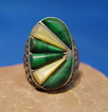 1e5c4fe2d1a037 Navajo Sterling Silver, Malachite and Mother of Pearl Ring Size 9 1/4