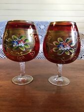 Vintage Bohemian Czech Hand Painted Floral Ruby Red Brandy Balloons Wine Glasses