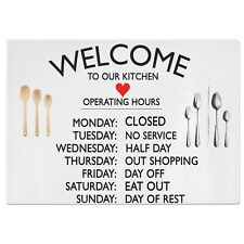 Welcome To Our Kitchen Funny Glass Chopping Board