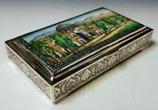 Fine Antique Persian Style Middle Eastern Islamic Solid Silver Enameled Box 347g