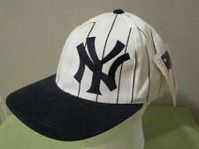 VTG NWT Starter New York Yankees MLB Pinstripe Side Logo Blue White Hat Cap