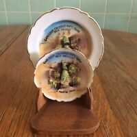 Vtg Carlsbad Caverns Nat'l Park mini plate set Nico hand painted Japan Gold