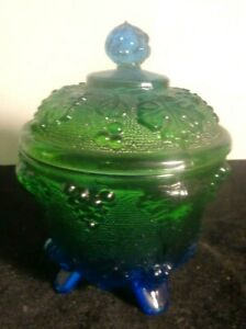 Circa 1930 Carnival Glass Blue to Green Covered Bowl w/ Grape Leaves Decorations