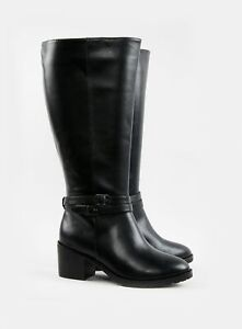 Evans Womens Wide Fit Black Knee High Leg Faux Leather Boots Winter Shoes
