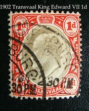 1902 TRANSVAAL King Edward VII One Penny red & beige oval portrait stamp -joburg
