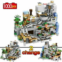 1000PCS Building Blocks Minecraft The Mountain Cave With Elevator Kids Toys B