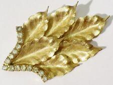 superbe broche bijou vintage couleur or cristal diamant swarovski * 3717