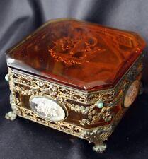 Antique Amber Glass Intaglio Cameo Ormolu Trinket Box