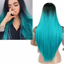 Women Long Straight Synthetic Wig Black Root Ombre Blue Hair Wigs Heat Resistant