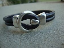 Men's Black Leather Bracelet Surfer Wristband Antique Silver  USA