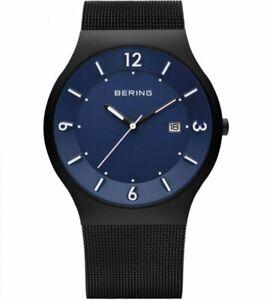 NEW Bering Herrenuhr 14440-227 Solar Uhr Schwarz Blau Matt Armbanduhr