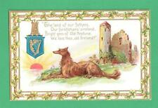 VINTAGE TUCK ST. PATRICK'S DAY POSTCARD IRISH WOLFHOUND CASTLE SUNSET SHAMROCKS
