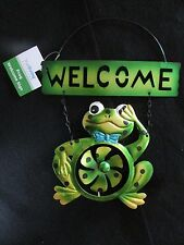 """Metal Frog With Wind Spinner Hanging """"WELCOME"""" Wall Art  IN/Outdoors  New!"""