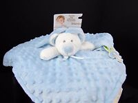 Blankets & Beyond Blue Minky Dot White Bear Security Lovey Pacifier Holder NEW