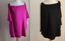 NWT (2) Talbots -Sz 3XP 3X Petite Elegant Magenta Black Pima Cotton T-Shirt Top