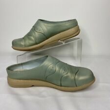 Dansko Clogs Slides Mules Womens 38 Leather Mint Green Comfort Nursing Work