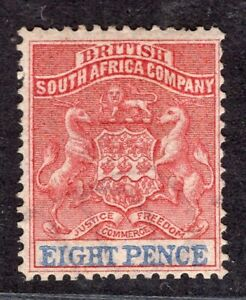 BRITISH SOUTH AFRICA COMPANY RHODESIA 1890/4 STAMP Sc. # 8 MH WITH WMK