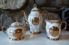 Vtg. Sterling China Tea Set Gold Overlay Flower Teapot, Covered Sugar, Creamer