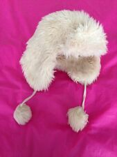 Cream Furry Hat Used Age 5-10 Fluffy Thick Warm Unisex