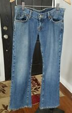 Lucky Brand Dungarees Button Cotton Navy Blue Distressed Jeans Womens Size 4/27