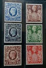 GREAT BRITAIN 1938 KG VI 2s6d to £1 SG 476 - 478C Sc 249 - 251A 275 set 6 MLH