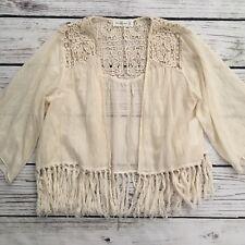 Abercrombie Womens Ivory Crochet Kimono Cardigan Top Shirt Fringes Size M L EUC