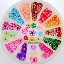 12 Designs Fimo Floral Slice Shape Nail Art Rhinestones Phone Decals Wheel Tips