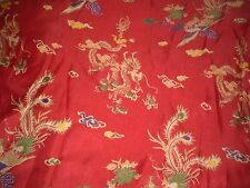 "BTYd Red Kimono Satin Fabric Dragons & Stylized Rooster/Game Cock 58"" wide"