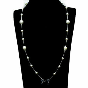 """NATURAL WHITE BAROQUE PEARL & BEADS MASK CHAIN NECKLACE HOLDER 32"""" 925 SILVER"""