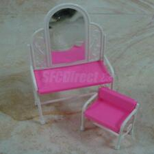 Dollhouse Furniture Dressing Table And Chair for Barbie Girl's Gift Pink/White