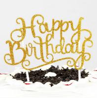 V2 HAPPY BIRTHDAY CAKE PICK TOPPER DECORATION GOLD SILVER GLITTER CALLIGRAPHY