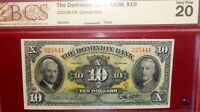 1938 $10 THE DOMINION BANK  CANADA  CHARTERED BANKNOTE