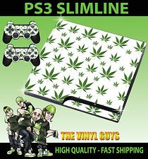 PLAYSTATION PS3 SLIM STICKER  CANNABIS LEAF WHITE WEED MARY JANE SKIN & PAD SKIN