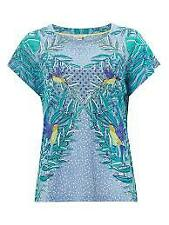NEW EX WHITE STUFF UK SIZE  8 10 12 14 16 Teal  Print Top Blouse T Shirt Clothes, Shoes & Accessories