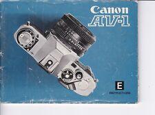 GENUINE ORIGINAL CANON INSTRUCTION MANUAL FOR AV-1 FILM CAMERA