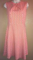 New York & Company Women's LARGE orange/white sleeveless A-line cotton dress