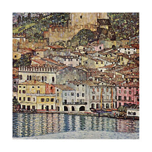 gustav klimt lake garda  Framed Canvas abstract vintage painting art wall decor