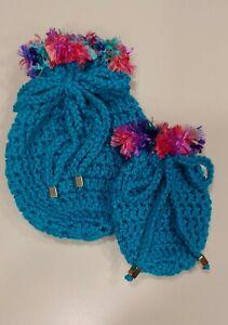 Gift Card Holder Drawstring Pouch Handmade Crochet Wristlet Gift Bag Blue NEW
