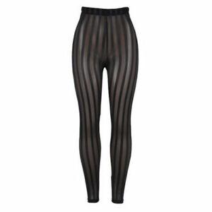 Sexy Striped Perspective Mesh Leggings Push Up Yoga Pants Womens High Waist Gym