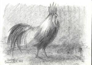 original drawing A4 103GM art samovar Charcoal sketch cock animal bird