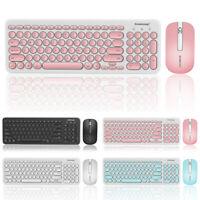 Ultra-Thin 2.4G Wireless Keyboard & USB Round Retro Mute Mouse Mice Combo Set