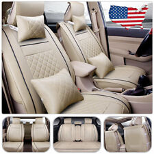 US PU Leather 5-Seat Car Seat Cover Front+Rear Cushion Pillow Full Set Beige M