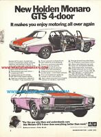 1971 HOLDEN HQ GTS MONARO ADVERTISEMENT POSTER SALE BROCHURE A4 253 308 350 GM
