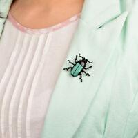 Unisex Women&Men Fashion Insect Brass Pin Brooch Animal Scarab Beetle Wooden Bug