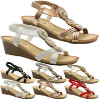 Womens Flat Diamante Peep Toe Wedge Ankle Strap Shoes Ladies Summer Sandals Size