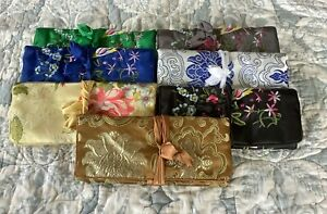 LARGE SIZE SILK EMBROIDERED JEWELLERY TRAVEL  ROLL - FREE POST   Various Colours