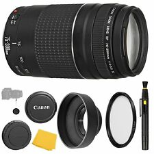 Canon EF 75-300mm f/4-5.6 III Lens + UV Filter + Collapsible Rubber Lens Hood...