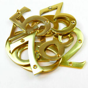 "Polished Brass Chrome Door Numbers 3"" ( 75 mm ) House Flat Apartment Shop Office"