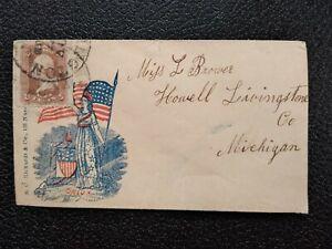 Civil War: Washington, DC 1860s #65 Rickards Patriotic Cover to Howell, Michigan