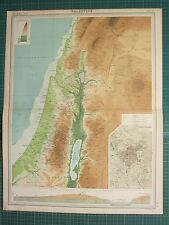 1921 mappa di grandi dimensioni ~ Palestina Samaria il balsamo di Giudea GERUSALEMME GALILEA piano